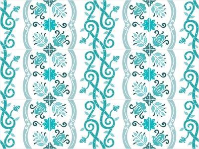 Póster Azulejos portugueses y brasileños adornados tradicionales de los azulejos en colores de la turquesa. Modelo de la vendimia. Fondo abstracto. Ilustración vectorial, eps10.