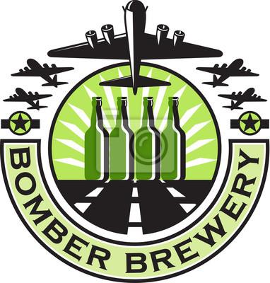 B-17 Bombardero Pesado Cerveza Botella Retro