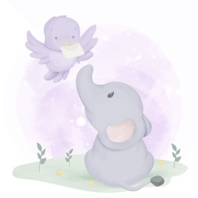 Póster Baby Elephant Get Mail From Bird