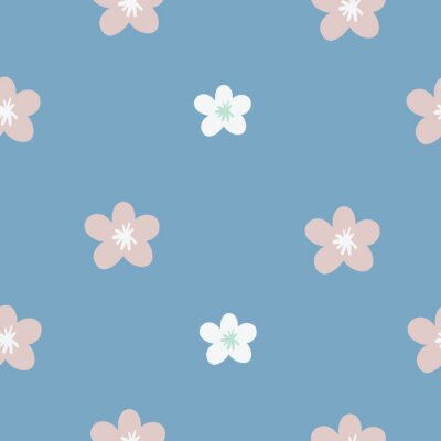 Póster Baby Floral. Seamless. Pink and White flowers. Simple. Daisy repeat pattern.