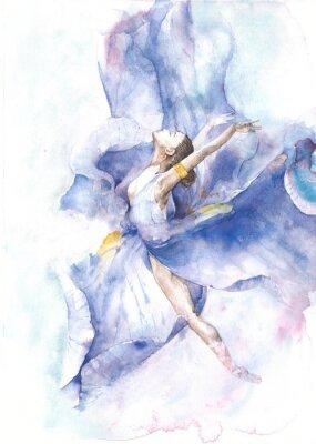 Póster Bailarina bailando acuarela pintura aislada sobre fondo blanco tarjeta de felicitación
