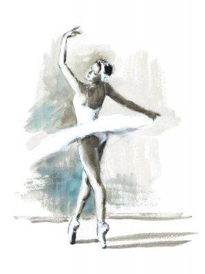 Póster Bailarina de acuarela pintado a mano bailarina de ballet ilustración