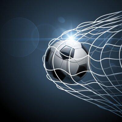Póster Balón de fútbol en la portería. Vector