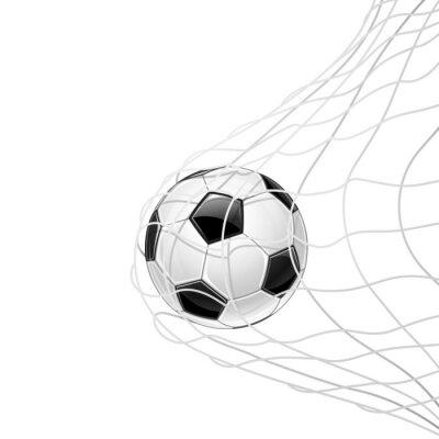 Póster Balón de fútbol en red aislada. Vector