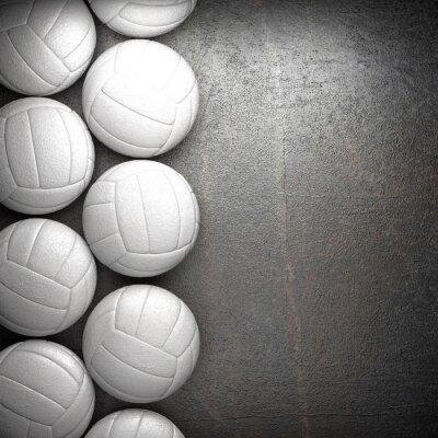 Póster Balón de voleibol y de fondo de la pared de metal