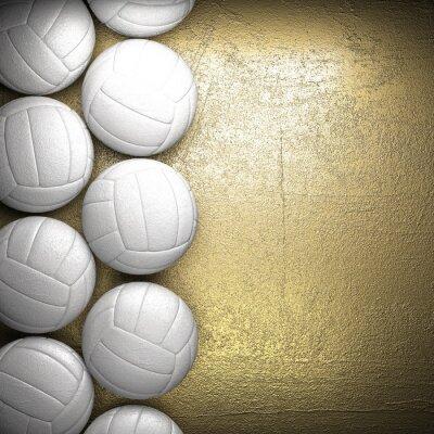 Póster Balón de voleibol y la pared de fondo de oro