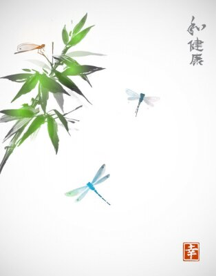 Póster Bamboo branch and three dragonflies