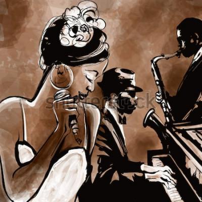 Póster Banda de jazz con cantante, saxofón y piano - ilustración vectorial