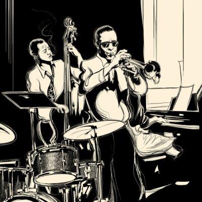 Póster Banda de jazz con contrabajo piano de la trompeta y el tambor