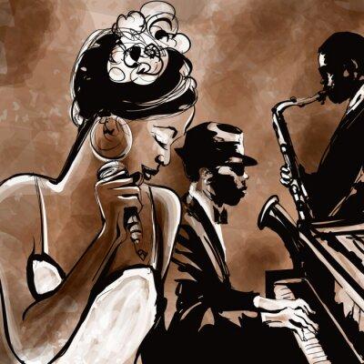 Póster Banda de jazz con el cantante, el saxofón y el piano - ilustración