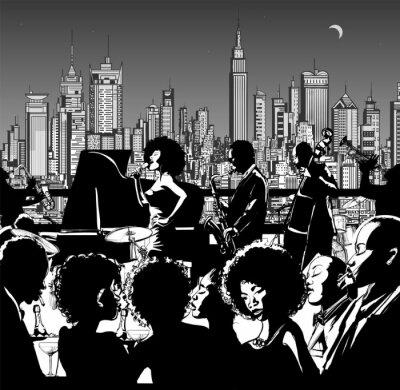 Póster Banda de música de jazz actuando en Nueva York