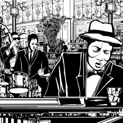 Póster banda de piano-jazz en un restaurante