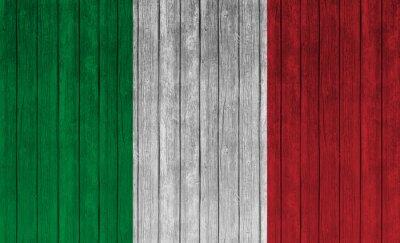 Póster Bandera de Italia sobre fondo de madera vieja