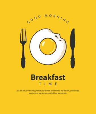 Póster Banner de vector sobre el tema del desayuno con huevo frito, tenedor y cuchillo sobre el fondo amarillo con lugar para texto en estilo retro