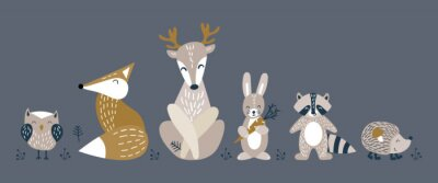 Póster Banner with cute woodland animals in scandinavian style. Set of nice characters on dark background. Flat vector illustartion.