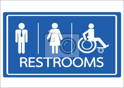 Baño Símbolo Hombre Mujer Y Silla De Ruedas Para Discapacitados