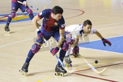 Póster BARCELONA - 26 de enero: Sergi Miras del FCB en acción en el partido de la Liga española entre el FC Barcelona y el Igualada HC Aceptar, el marcador final 4-5, el 26 de enero de 2013 en el Palau Blaug