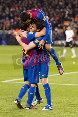 Póster BARCELONA -    Barcelona players celebrate a goal during the Spanish Cup match between FC Barcelona and Valencia, final score 2-0,   in Camp Nou stadium, Barcelona, Spain