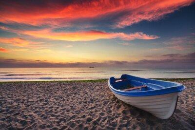 Póster Barco y salida del sol