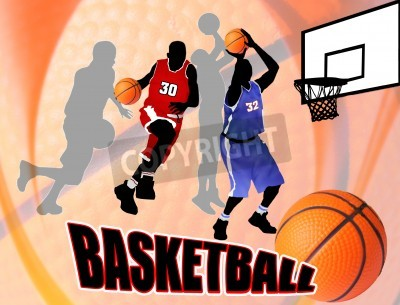 Póster Basketball action players on beautiful abstract background. Classical basketball poster illustration