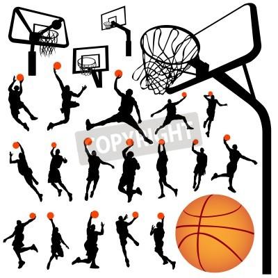 Póster basketball and backboard vector