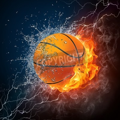 Póster Basketball Ball on Fire and Water. 2D Graphics. Computer Design.