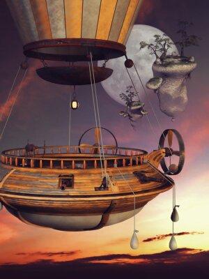 Póster Basniowy balon na tle księżyca i latających Wysp