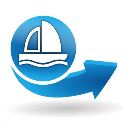 bateau voilier sur bleu bouton web