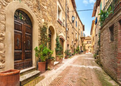 Póster Beautiful and colorful streets of the small and historic Tuscan