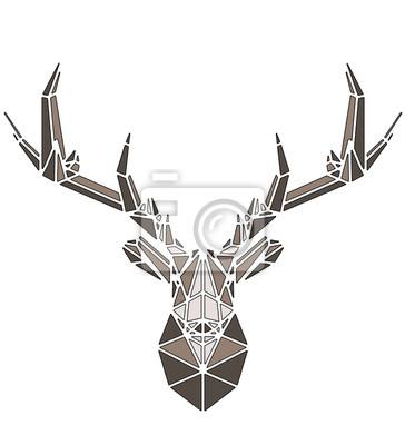 Póster Beautiful deer geometric triangle shape design