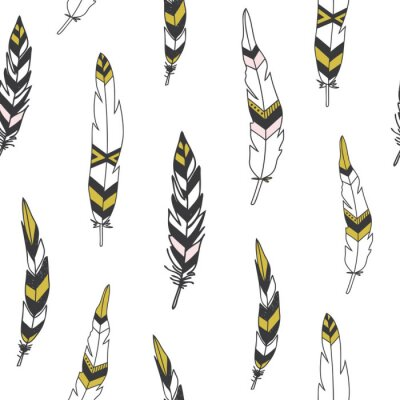 Póster Beautiful indian seamless pattern with feathers in vector.