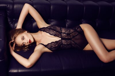 Póster beautiful sensual girl with long dark hair wearing luxurious lace lingerie