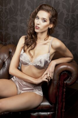 Póster Beautiful, sexy brunette in lingerie in luxury apartment