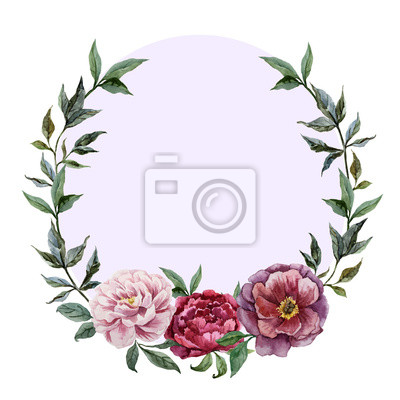 Beautiful vector watercolor frame with peonies on black fon1
