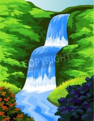 Póster Beautiful waterfall