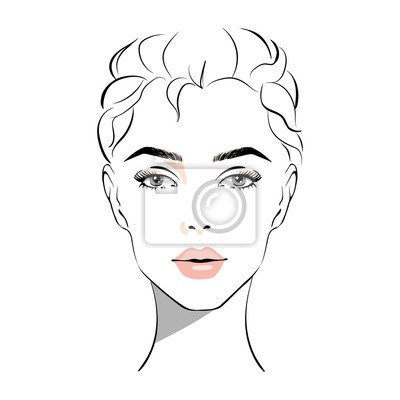 Póster Beautiful woman face with nude make-up hand drawn vector illustration. Stylish original graphics portrait with beautiful young attractive girl model. Fashion, style, beauty. Graphic, sketch drawing.