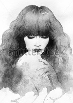 Póster Beautiful woman. watercolor illustration