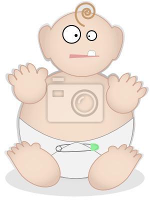 Bebé gordo en el pañal, sentado con un solo diente - quiere comida ...