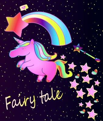 Póster Bebé poster-cute unicornio rosa con el arco iris en un hermoso fondo degradado con estrellas y corazones