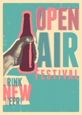 Póster Beer open air festival typographical vintage grunge pop-art style poster design. Retro vector illustration.