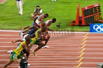 Póster Beijing, China - 16 de agosto de 2008:, Juegos Olímpicos, Usain Bolt rompe lejos en la carrera de 100 metros para los hombres