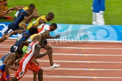 Póster Beijing, China 18 de agosto 2008, los Juegos Olímpicos, 100 metros de sprint, de inicio de los hombres