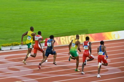 Póster Beijing, China - Aug 18 2008: Olympic champion Usain Bolt trails the pack before setting a new world record