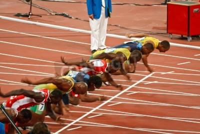 Póster Beijing, China, los Juegos Olímpicos - 18 de agosto 2008: 100 metros de línea de partida Sprint, Inicio de Hombres