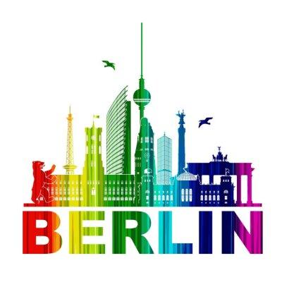 Póster Berlín Silueta Umriss Wandtatoo Schattenriss Elemento Regenbogen Fernsehturm Bär Rathhaus Reichstag Brandenburger Tor Funkturm