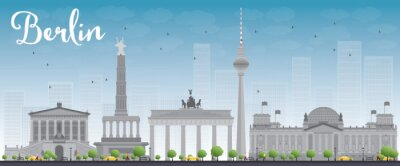 Póster Berlin skyline with grey building and blue sky.
