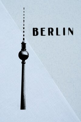 Póster Berlín Vintage postal - tv torre y las letras en backg abstracto