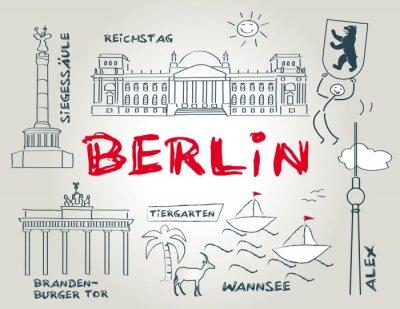 Póster Berlín, Wahrzeichen, ilustración