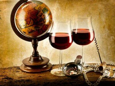 Póster bicchieri di vino rosso