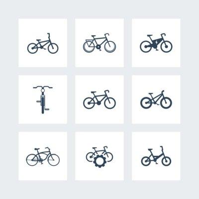 Póster Bicicleta, ciclismo, bicicleta, bicicleta eléctrica, gordo-bicicleta iconos simples, ilustración vectorial